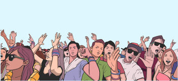 Illustration of festival crowd going crazy at concert. Stylized drawing of people having fun at live performance Stock Photos