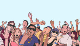 Illustration of festival crowd going crazy at concert. Stylized drawing of people having fun at live performance Royalty Free Stock Photo