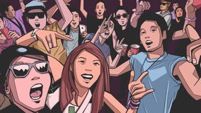 Illustration of festival crowd going crazy at concert. Stylized drawing of people having fun at live performance Stock Images