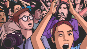 Illustration of festival crowd going crazy at concert. Stylized drawing of people having fun at live performance Royalty Free Stock Photos