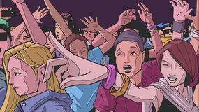 Illustration of festival crowd going crazy at concert. Stylized drawing of people having fun at live performance Royalty Free Stock Image