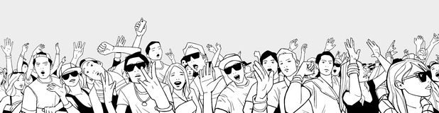 Illustration of festival crowd having fun at concert in panorama view and high detail. Stylized drawing of mixed ethnic crowd singing and dancing Royalty Free Stock Images