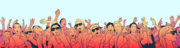 Illustration of festival crowd having fun at concert in panorama view and high detail. Stylized drawing of mixed ethnic crowd singing and dancing Royalty Free Stock Photo
