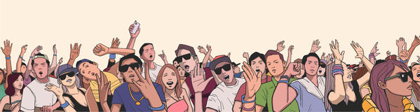 Illustration of festival crowd having fun at concert in panorama view and high detail. Stylized drawing of mixed ethnic crowd singing and dancing Stock Photos
