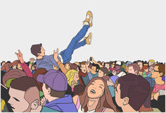 Illustration of festival party and crowd surfing. Stylized drawing of crowd going crazy at live performance Royalty Free Stock Image