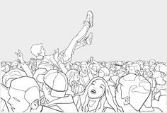 Illustration of festival party and crowd surfing. Stylized drawing of crowd going crazy at live performance Royalty Free Stock Images