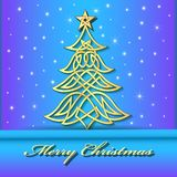Festive background with Christmas tree of Celtic. Illustration festive background with Christmas tree of Celtic weave gold pattern Royalty Free Stock Image