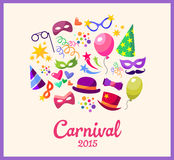 Illustration festive banner with carnival colorful. Icons - vector Stock Photos