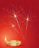 Diwali sparklers. An illustration of festive diwali sparklers with golden lamp and flame on a red background Stock Images