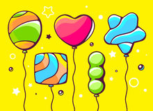 illustration of festive set of colorful striped balloons Royalty Free Stock Photos