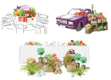 Illustration of festive tables. Pop-art stock illustration