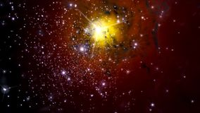 Illustration of a fictitious star-field, nebulae, sun and galaxi. Es Royalty Free Stock Photo
