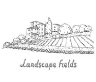 Illustration of field and village Royalty Free Stock Images
