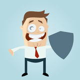 Man holding  blank shield Stock Images