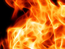 Illustration of a fiery flame in neon light. Close-up Royalty Free Stock Images