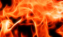 Illustration of a fiery flame in neon light. Close-up Royalty Free Stock Image