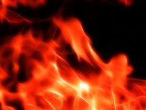Illustration of a fiery flame in neon light. Close-up Stock Photo