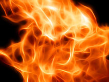 Illustration of a fiery flame in neon light. Close-up Stock Photography