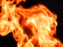 Illustration of a fiery flame in neon light. Close-up Stock Images