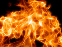 Illustration of a fiery flame in neon light. Close-up Royalty Free Stock Photos