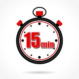 Fifteen minutes stopwatch. Illustration of fifteen minutes stopwatch on white background Stock Image