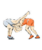 Illustration of fighter during a wrestling match. Illustration of two fighter who perform in a fighting match Stock Photo