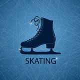 Illustration with figure skate. On a ice rink textured background Royalty Free Stock Image