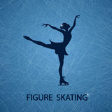 Illustration with figure skater. On a ice rink textured background Stock Image