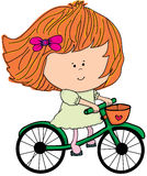Illustration - fille sur une bicyclette Photos libres de droits