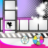 Illustration with film frames. And stars over colored background and stars over colored background Royalty Free Stock Images