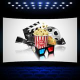 Illustration for the film industry. Popcorn, reel, film and clap. Perboard on the cinema screen.. Highly detailed illustration vector illustration