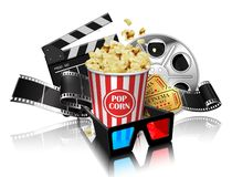 Illustration for the film industry. Popcorn, reel, film and clap. Perboard on a white background. Highly detailed illustration vector illustration