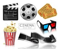 The set of items related to the film industry . Popcorn, reel, f. Illustration for the film industry. Popcorn, reel, film and clapperboard. Highly detailed royalty free illustration