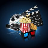 Illustration for the film industry. Popcorn, reel, film and clap. Perboard on a reflective surface on a background with highlights. Highly detailed illustration stock illustration