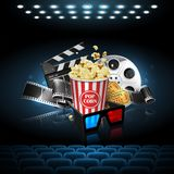 Illustration for the film industry. Popcorn, reel, film and clap. Perboard on the cinema screen.. Highly detailed illustration royalty free illustration