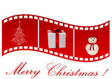 Illustration of a film strip with Christmas symbol Stock Image