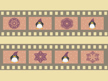 Illustration of a film strip with Christmas symbols attributes and penguins. Illustration with film strips for christmas, vector illustration Royalty Free Stock Photos