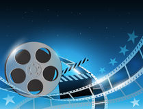 Illustration of a film stripe reel on shiny blue movie background. Vector illustration of a film stripe reel on abstract movie background Royalty Free Stock Images