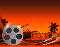 Illustration of a film stripe reel on shiny red movie background. Vector illustration of a film stripe reel on abstract movie background Royalty Free Stock Image