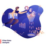 Illustration. Filter Data Analysis, a modern  style concept, can be used for landing pages, web, ui, banners, templates, backgrounds, posters - Vector vector illustration