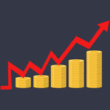 Illustration. Financial curve Graph Stacks of gold coins. Royalty Free Stock Images