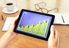 Illustration Financial graph on digital tablet. Close up Royalty Free Stock Photos