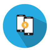 The illustration is a financial   transaction over the phone. You can transfer   money to check your balance. Via mobile Stock Photos