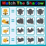 Find the correct shadow of the bee. Illustration of Find the correct shadow of the bee Stock Image