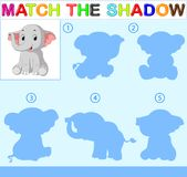 Find the correct shadow of the elephant. Illustration of Find the correct shadow of the elephant Royalty Free Stock Images