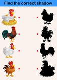 Find the correct shadow: farm animals chicken and rooster. Illustration of Find the correct shadow: farm animals chicken and rooster Royalty Free Stock Images
