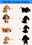 Find correct shadow. Funny little dog collections. Illustration of Find correct shadow. Funny little dog collections Stock Photos