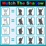 Find the correct shadow of the rabbit. Illustration of Find the correct shadow of the rabbit Royalty Free Stock Photos