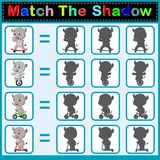 Find the correct shadow of the rhino. Illustration of Find the correct shadow of the rhino Stock Images