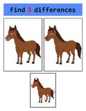 Find 5 differences horse. Illustration of Find 5 differences horse Royalty Free Stock Photos